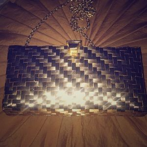 RODO Woven Gold Clutch with Chain Strap